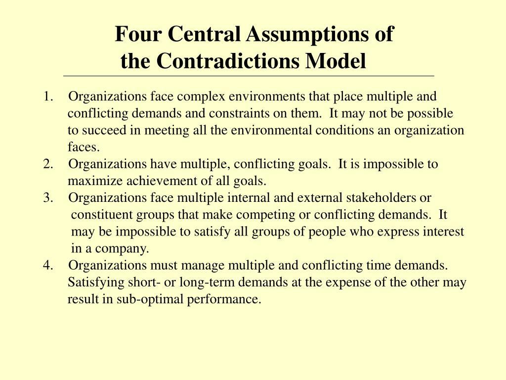 Four Central Assumptions of