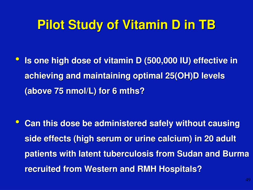 Pilot Study of Vitamin D in TB