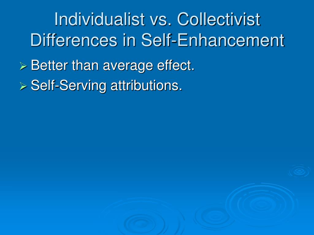 Individualist vs. Collectivist