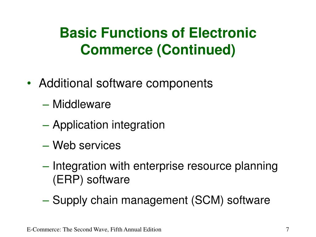 Basic Functions of Electronic Commerce (Continued)