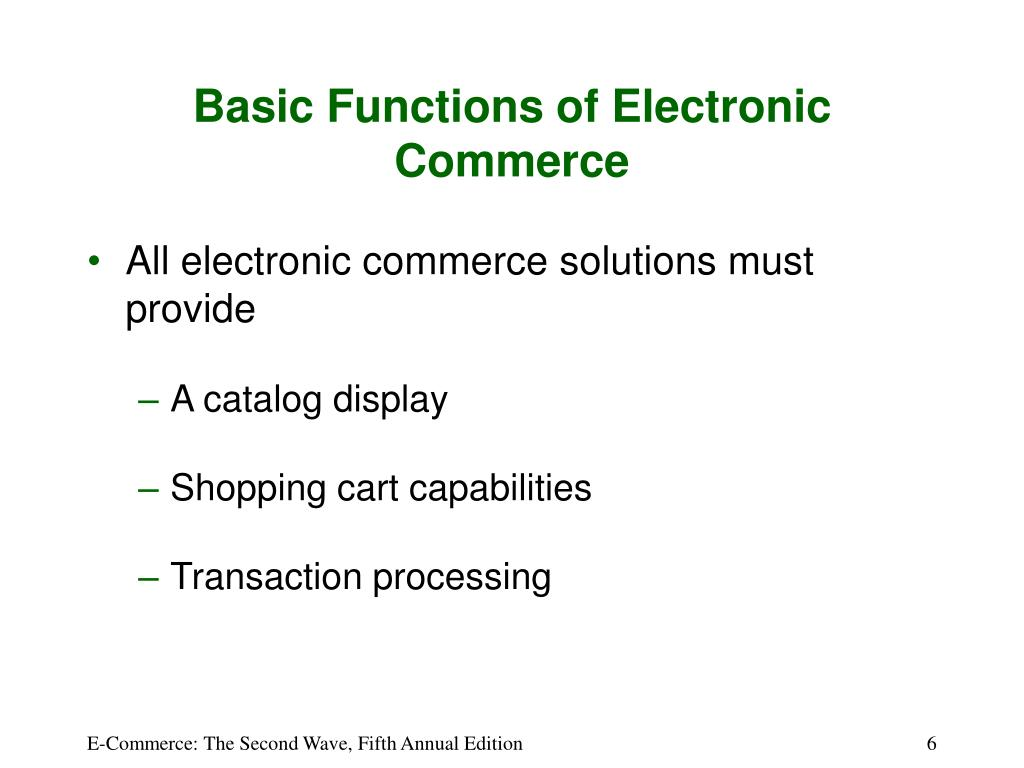 Basic Functions of Electronic Commerce