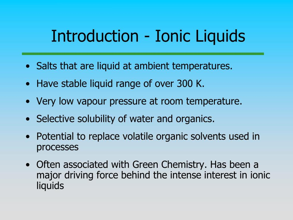 Introduction - Ionic Liquids