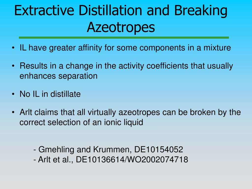 Extractive Distillation and Breaking Azeotropes