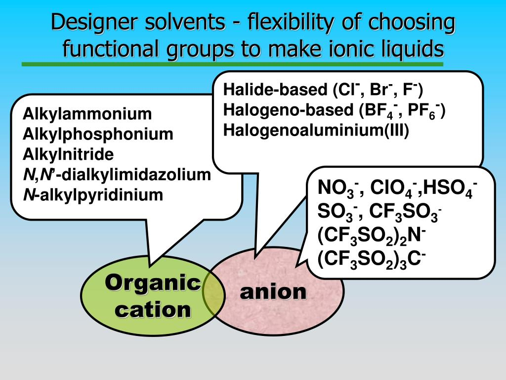 Designer solvents - flexibility of choosing functional groups to make ionic liquids