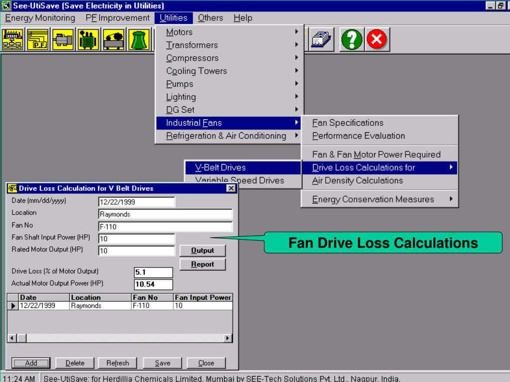 Fan Drive Loss Calculations