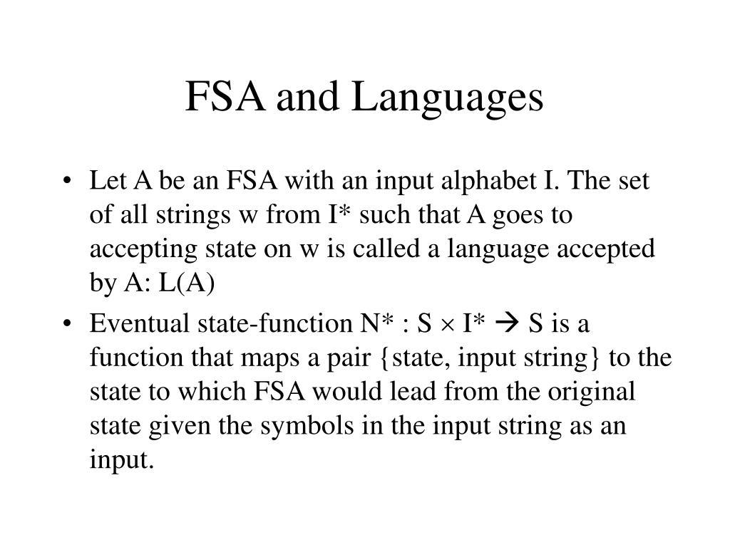 FSA and Languages