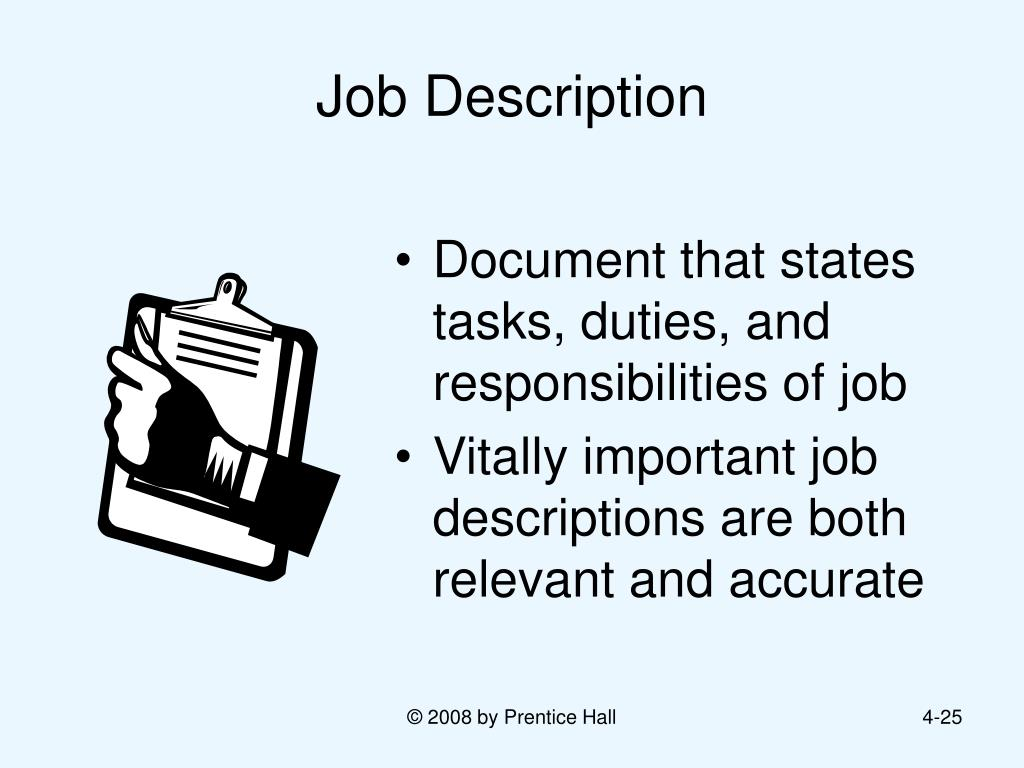 job descriptions Looking for a job description visits totaljobscom now for free online examples and get ideas about salary, entry requirements and much more.