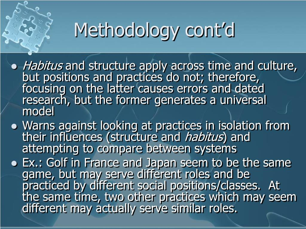 Methodology cont'd