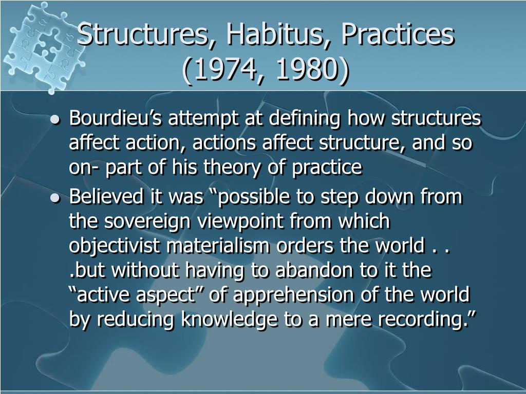 Structures, Habitus, Practices (1974, 1980)
