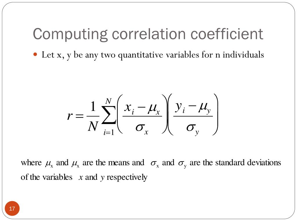 Computing correlation coefficient