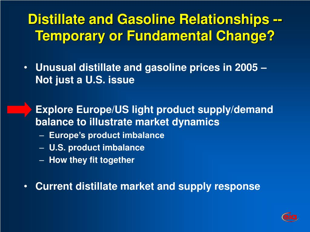 Distillate and Gasoline Relationships --Temporary or Fundamental Change?