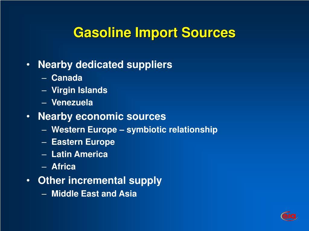 Gasoline Import Sources