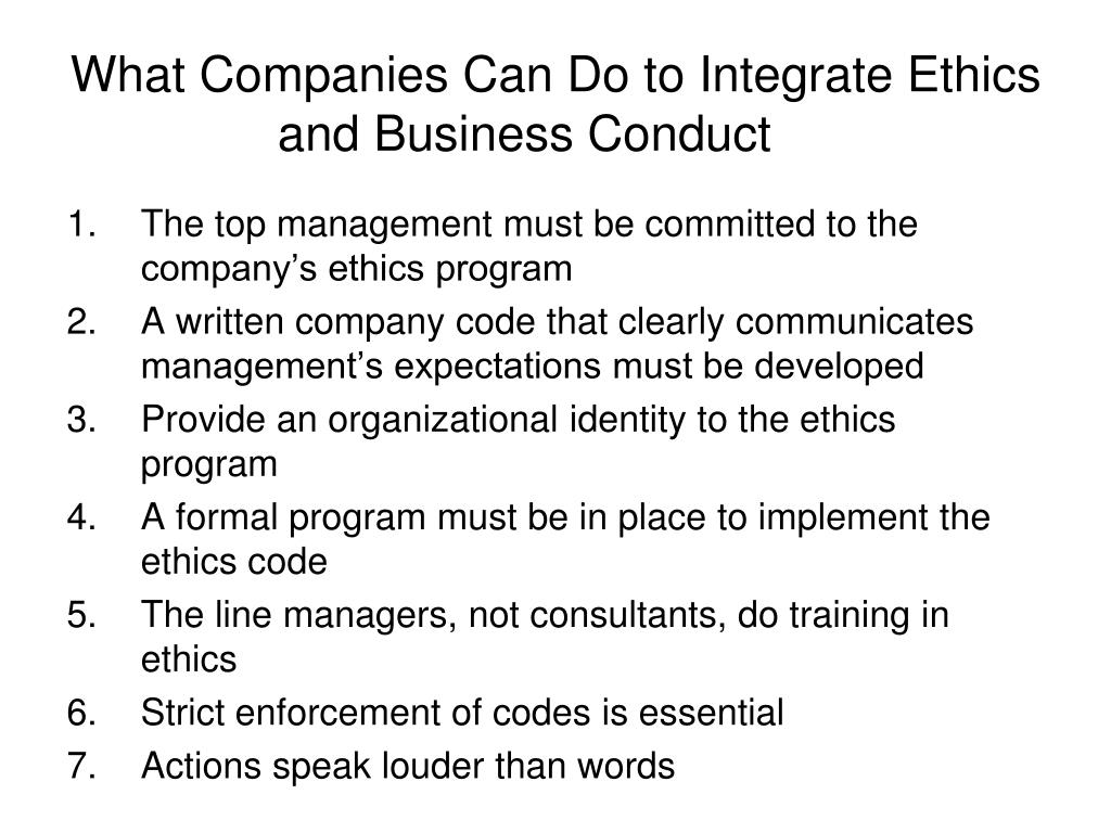 companies and business ethics Sound business choices - they are after the ethical advantage  between  companies that train their staff in business ethics and their financial.
