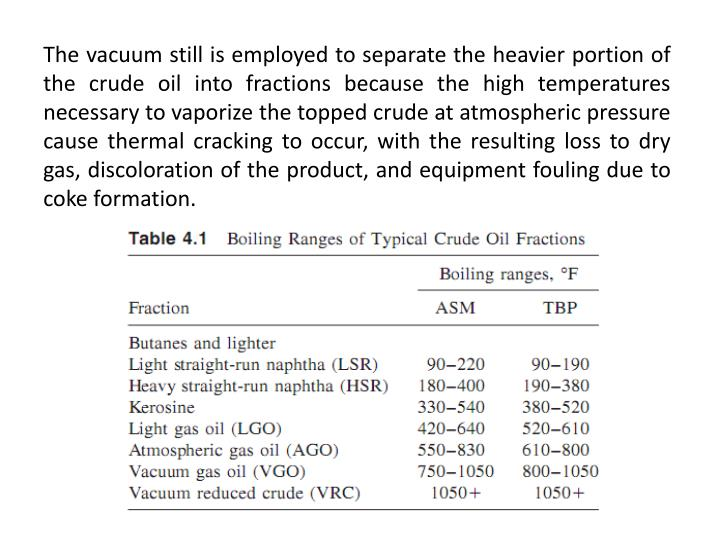 The vacuum still is employed to separate the heavier portion of the crude oil into fractions because...