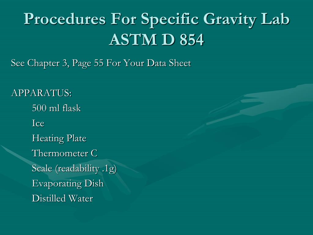 Procedures For Specific Gravity Lab