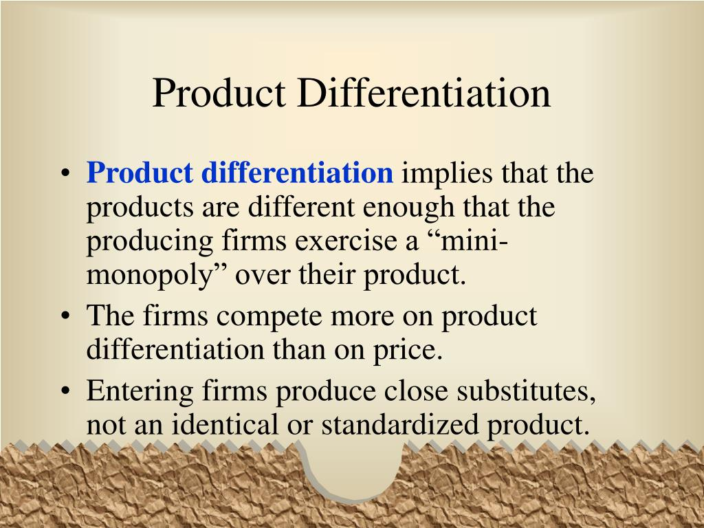 product differentiation essay Essay on product differentiation 635 words jun 15th, 2008 3 pages fast food companies such as mcdonald's, taco bell, and kfc are all an example of monopolistic competition.