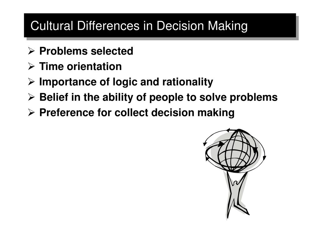 cultural differences in decision making in Keywords: global decision support systems, cultural factors,  many researchers have documented the existence of cross-cultural differences in decision-making.