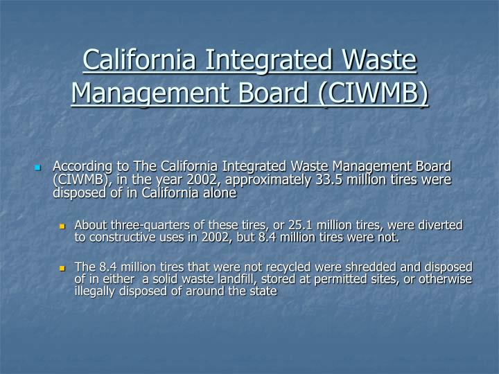 California integrated waste management board ciwmb