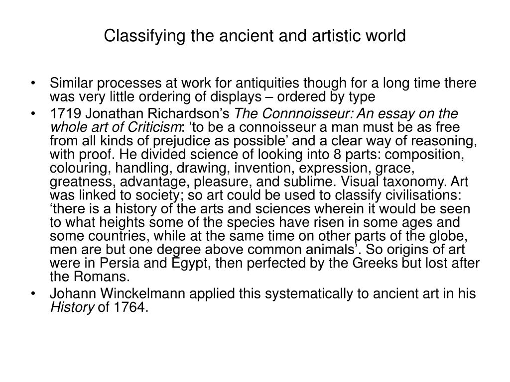 Classifying the ancient and artistic world