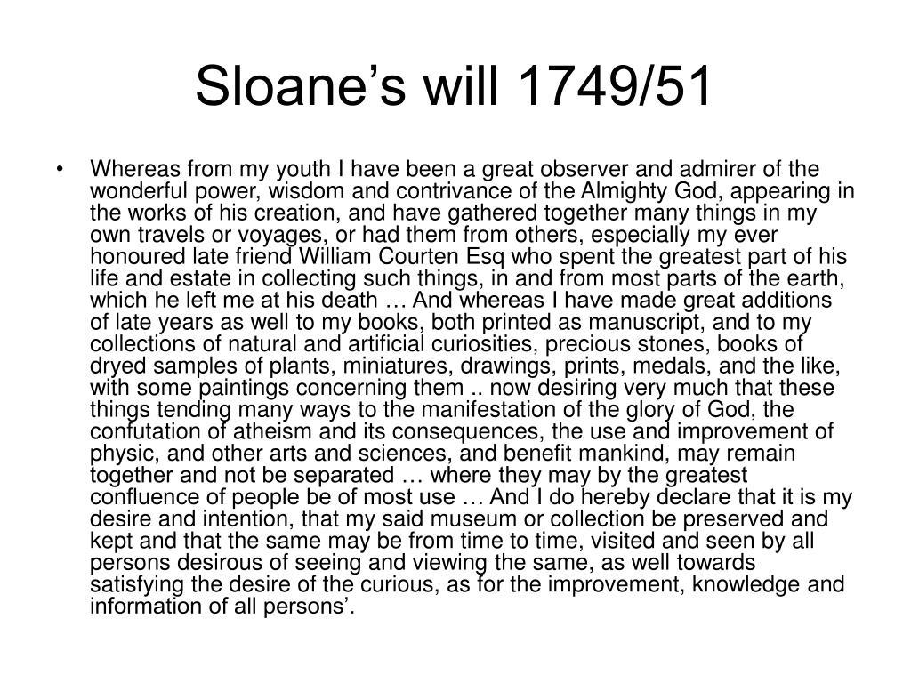 Sloane's will 1749/51