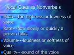 vocal cues as nonverbals