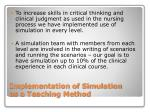 implementation of simulation as a teaching method
