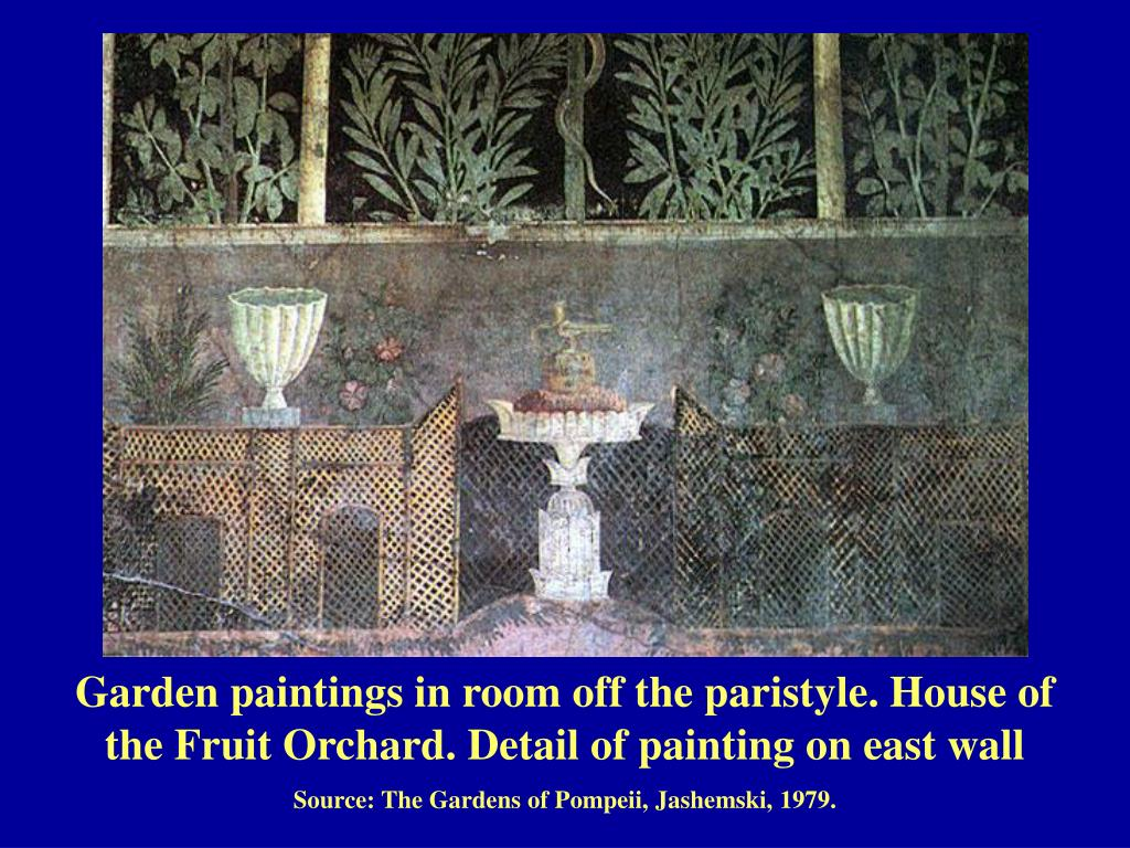 Garden paintings in room off the paristyle. House of