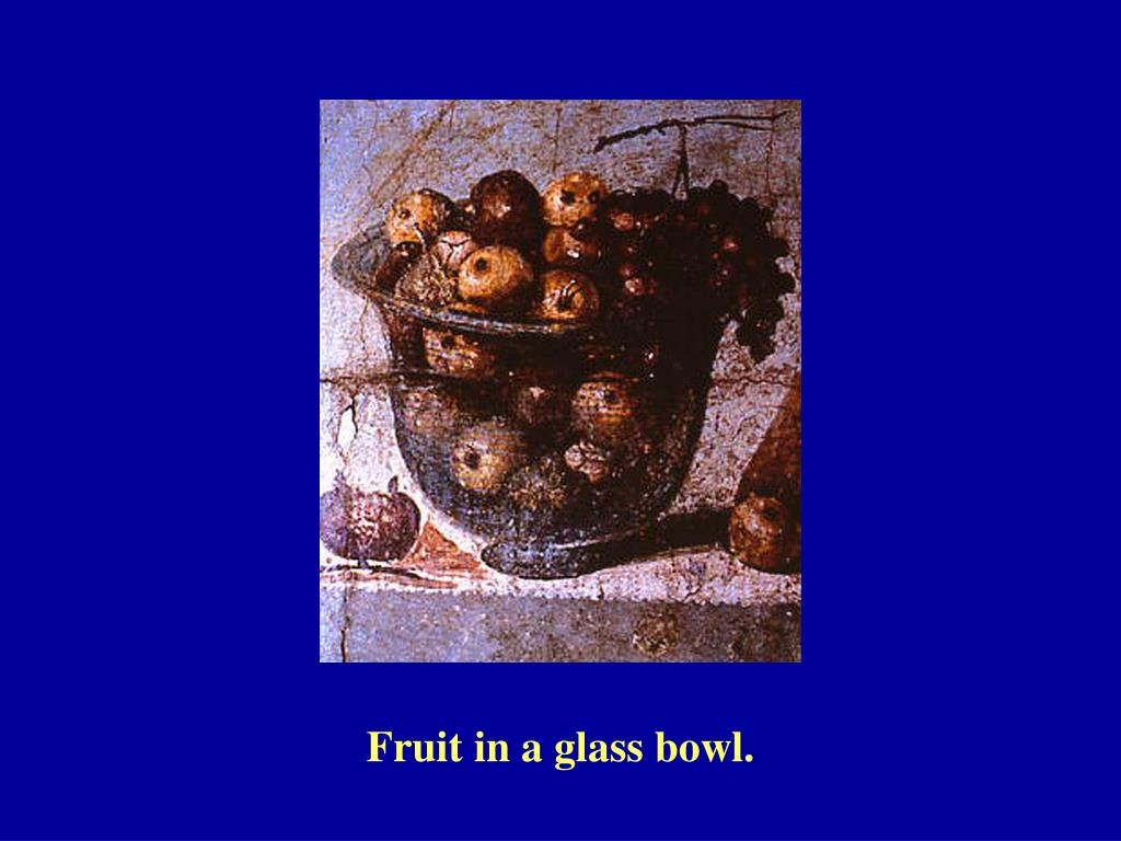 Fruit in a glass bowl.