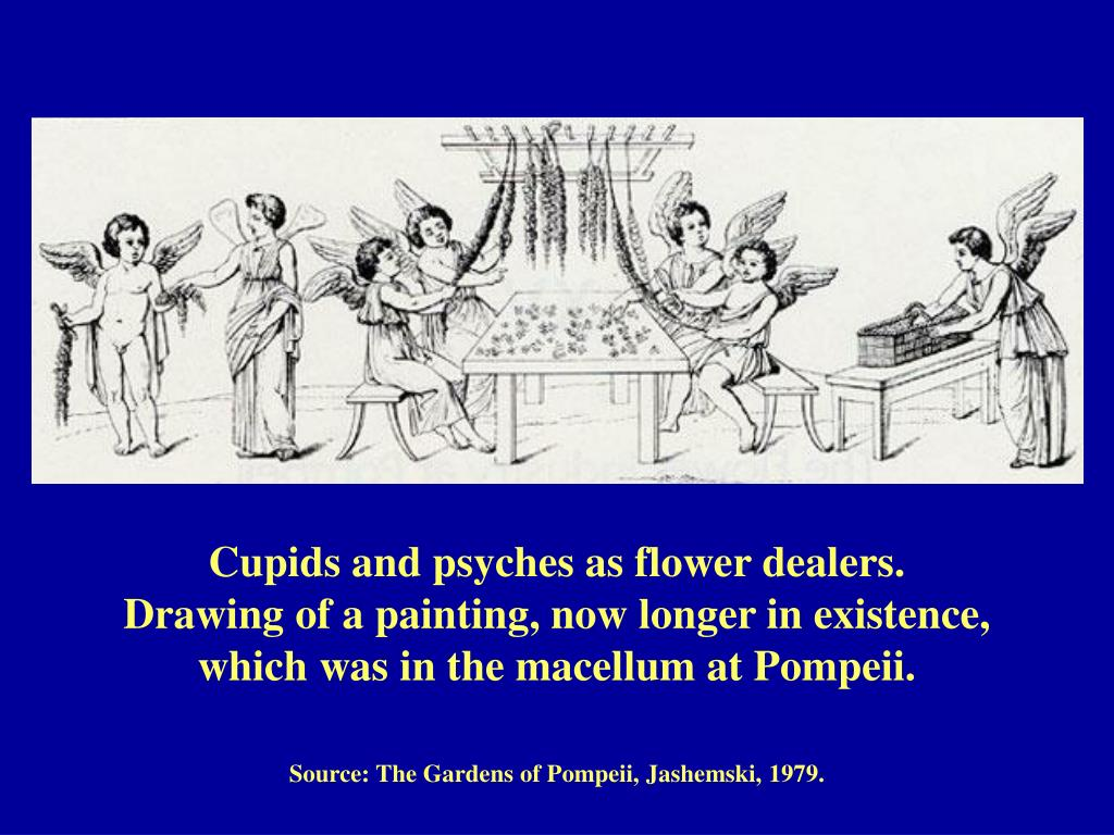 Cupids and psyches as flower dealers.