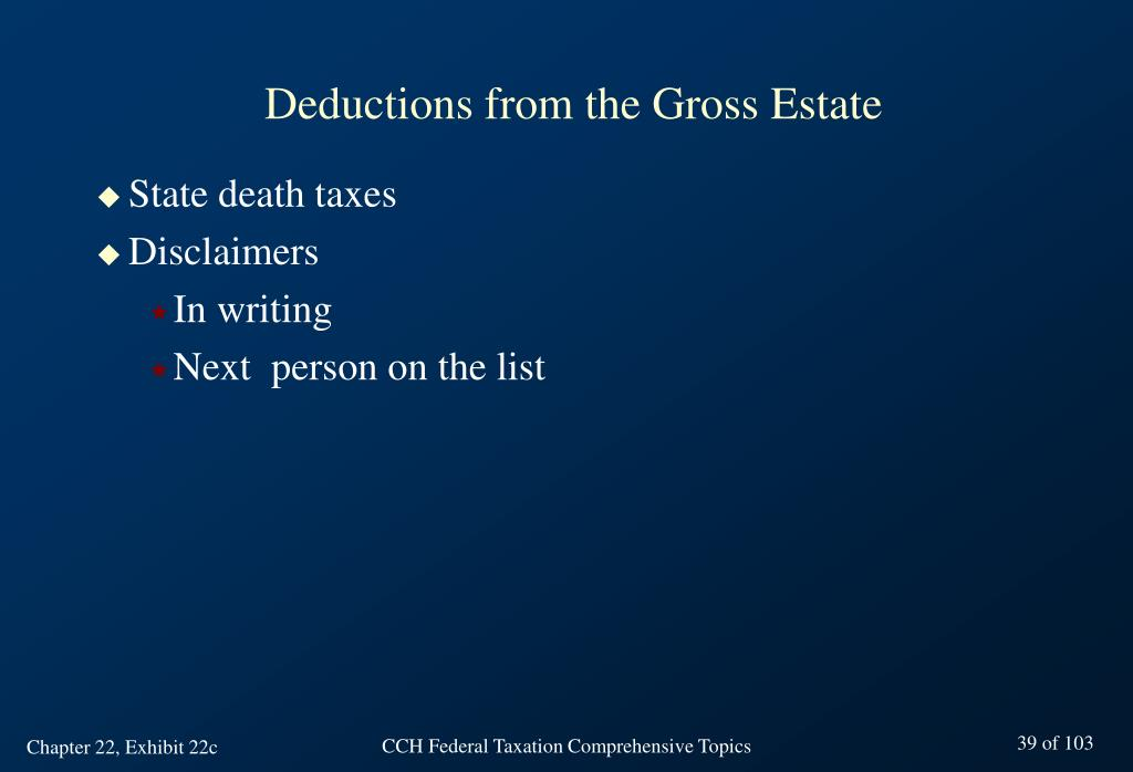 deductive from gross estate Antonyms for deduction 46 synonyms for deduction: conclusion, finding  a reduction in the gross amount on which a tax is  deduction deductive deductive.