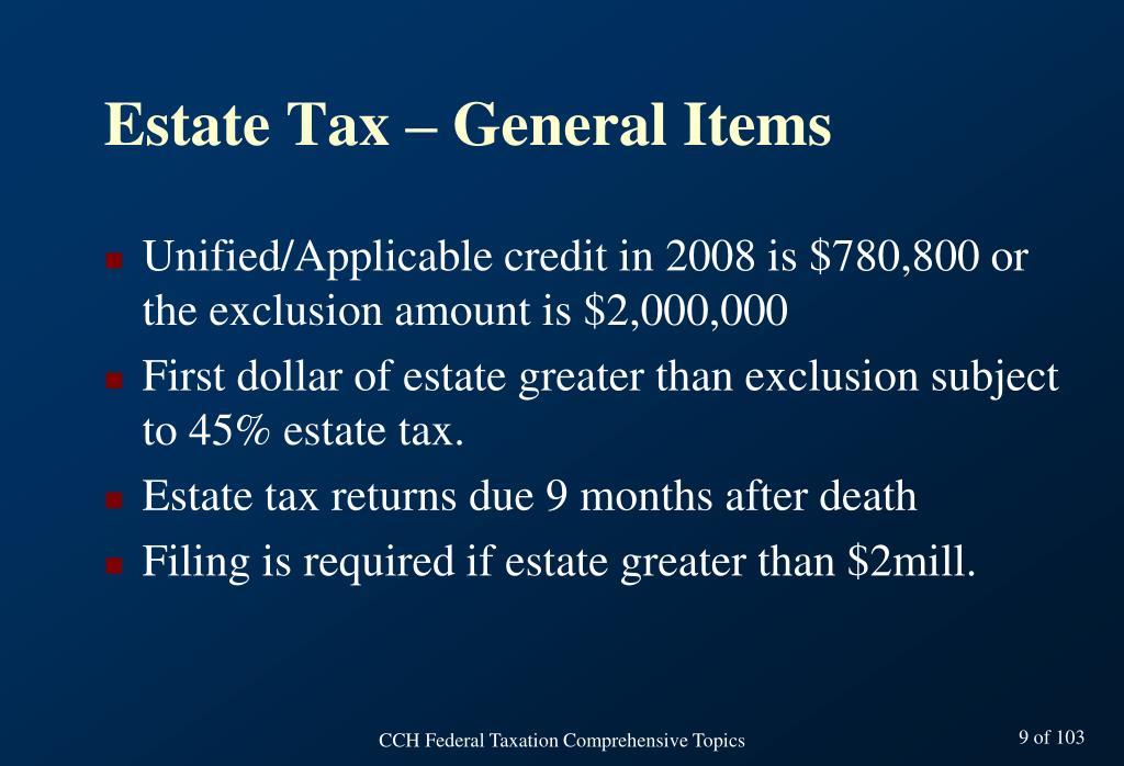 Estate Tax – General Items