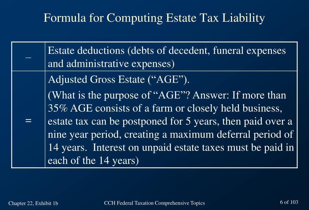 Formula for Computing Estate Tax Liability