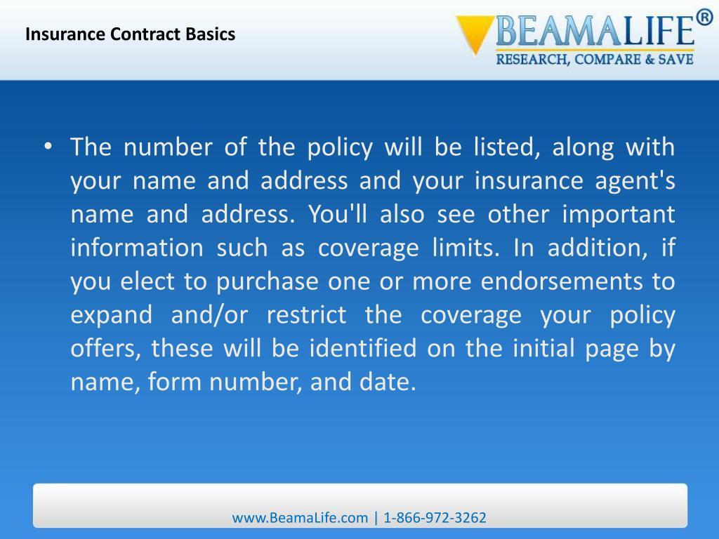 Insurance Contract Basics