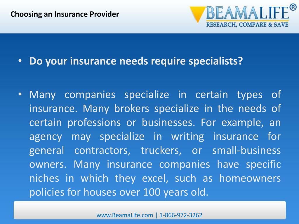 Choosing an Insurance Provider