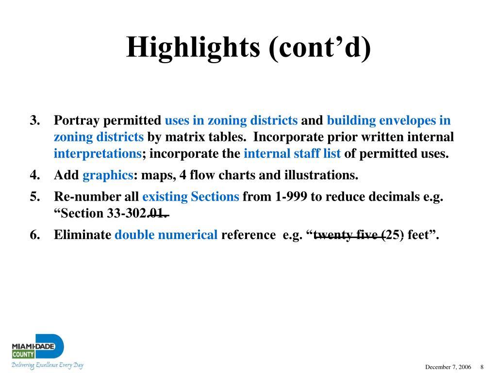 Highlights (cont'd)