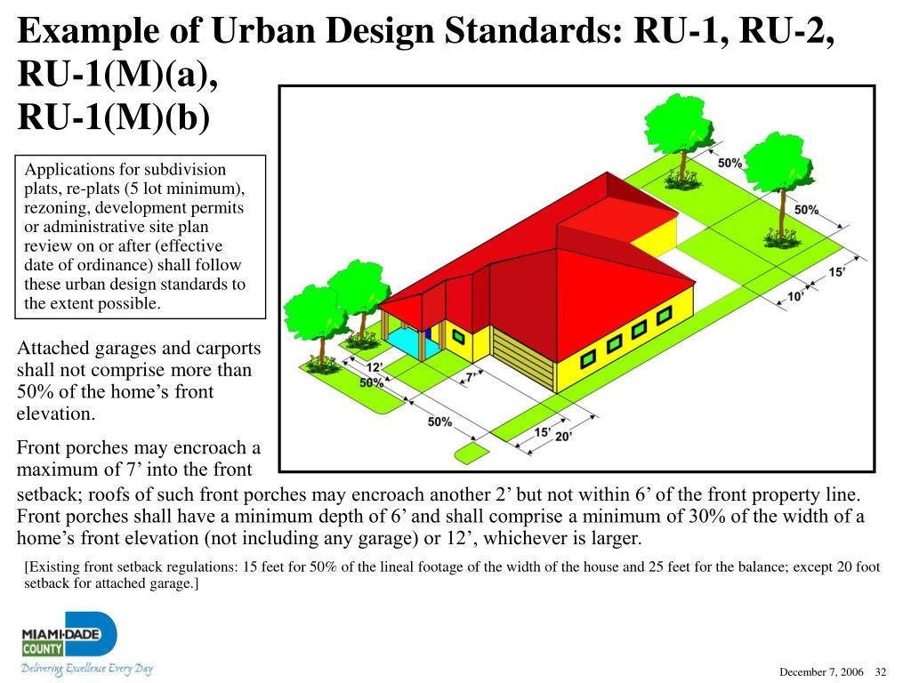 Example of Urban Design Standards: RU-1, RU-2,