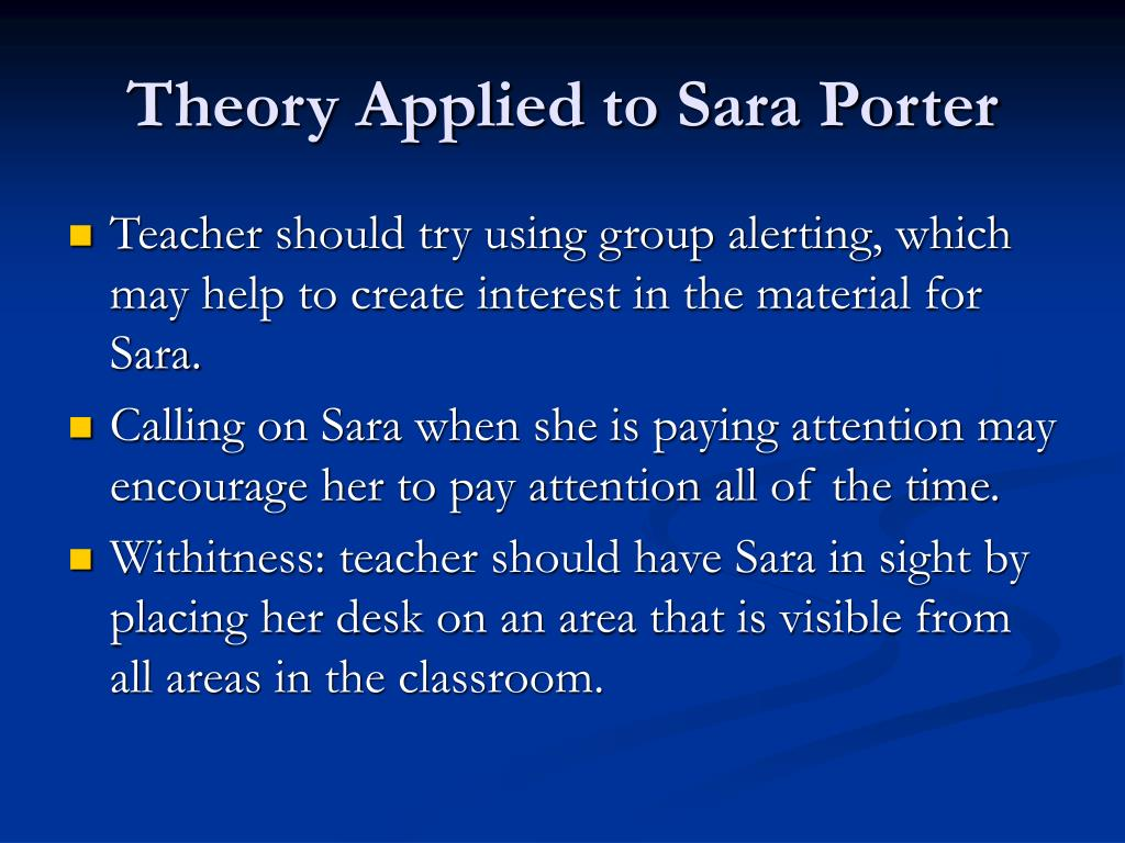 Theory Applied to Sara Porter