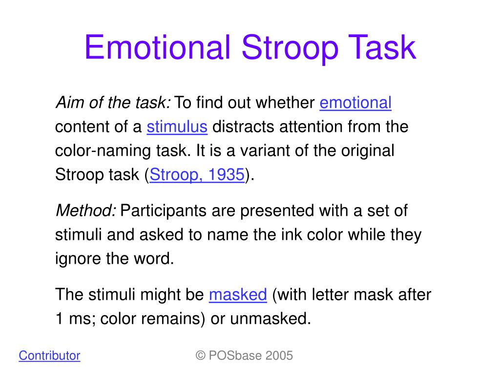 stroop affect ''red'' printed in blue) induces a robust interference known as the stroop effect  although this effect has been the subject of numerous functional.