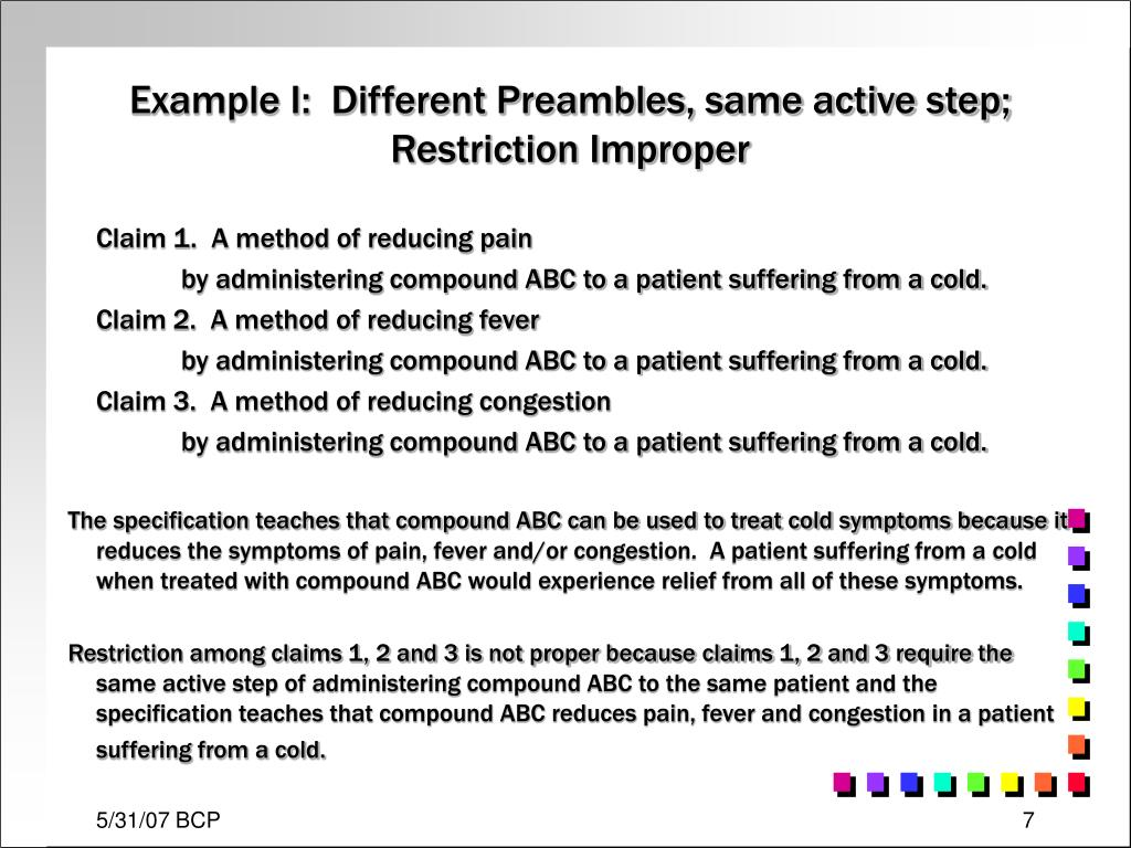Example I:  Different Preambles, same active step; Restriction Improper