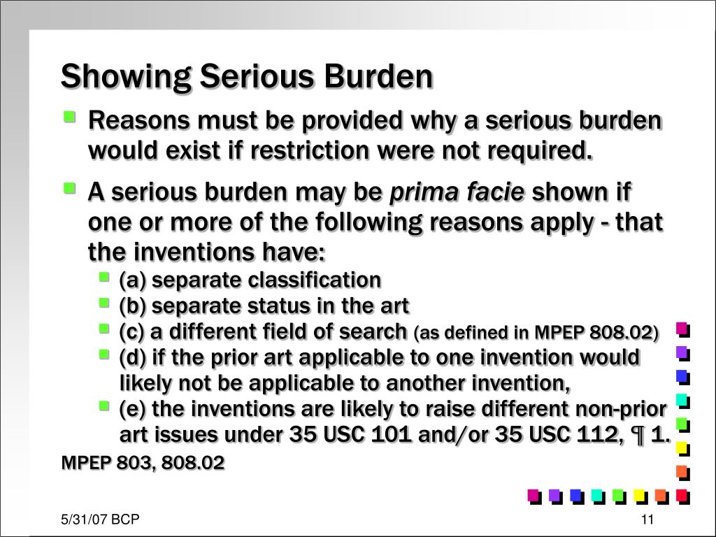 Showing Serious Burden