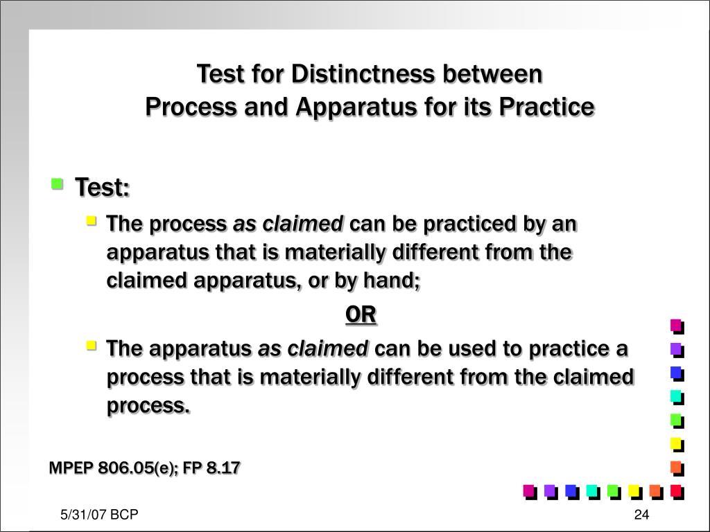 Test for Distinctness between