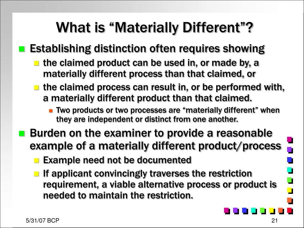 "What is ""Materially Different""?"