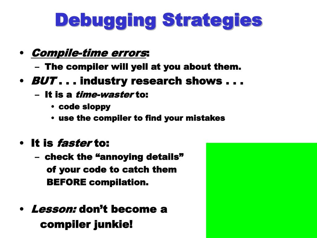 Debugging Strategies