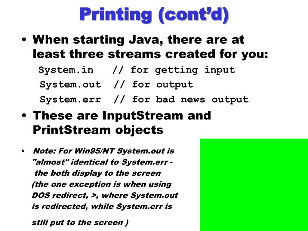 Printing (cont'd)