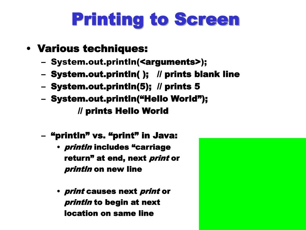 Printing to Screen