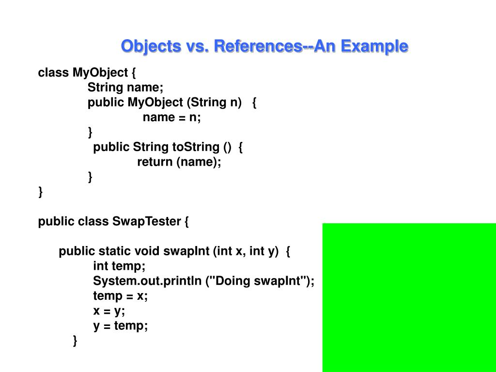 Objects vs. References--An Example