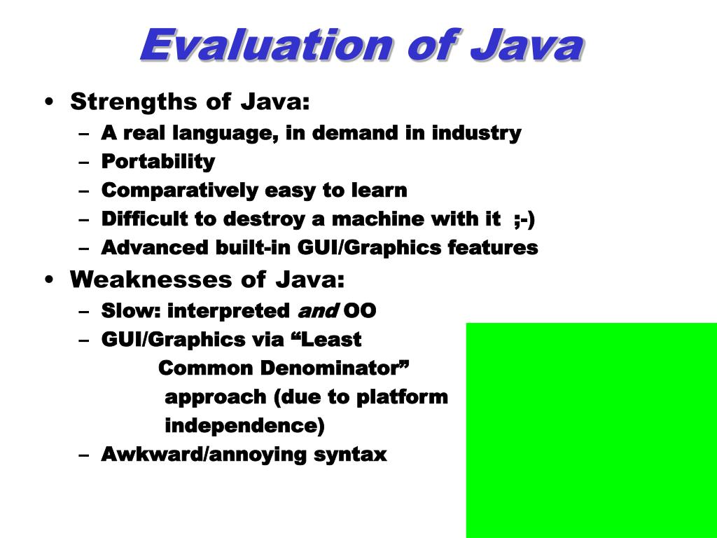 Evaluation of Java