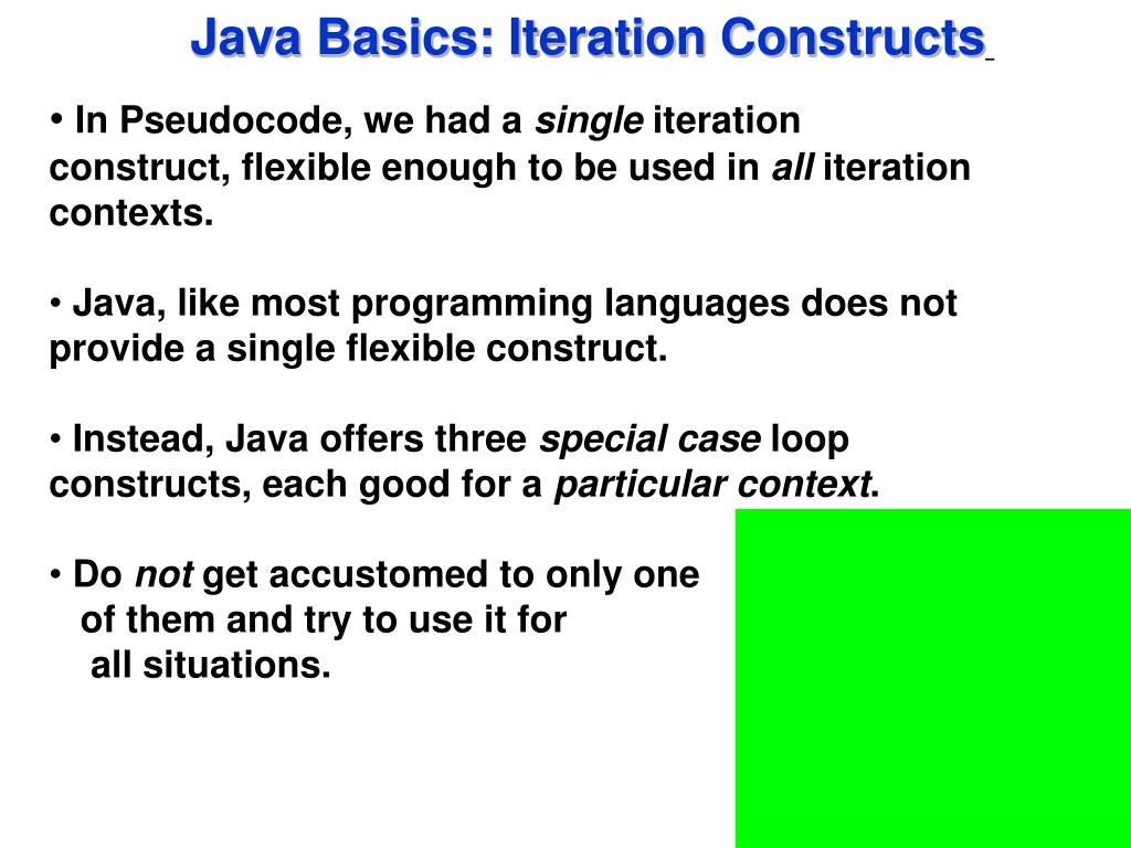 Java Basics: Iteration Constructs