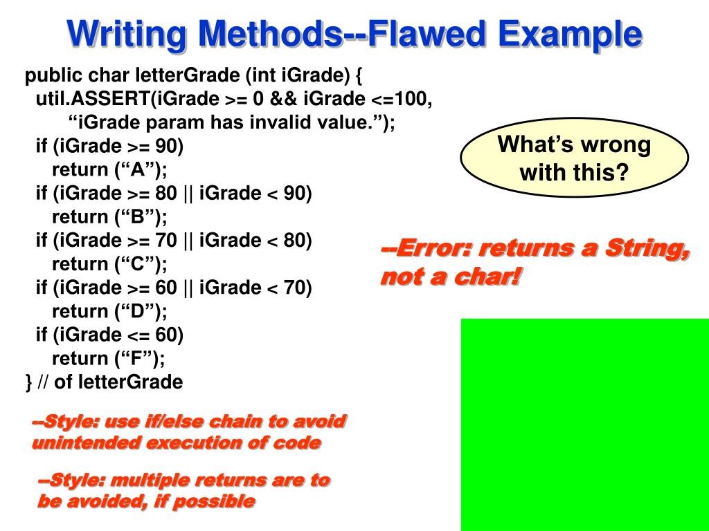Writing Methods--Flawed Example