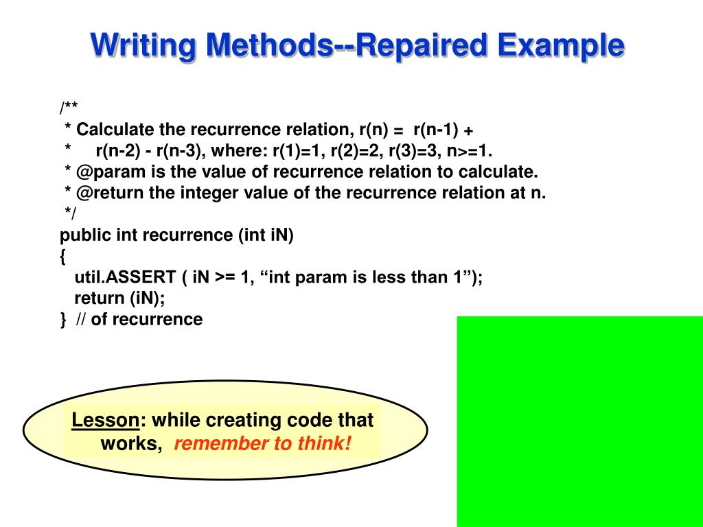Writing Methods--Repaired Example
